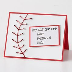 Baseball Fathers Day Card - awesome use of eyelets and embroidery floss!