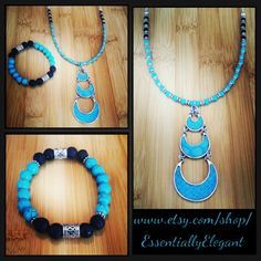 Just finished this Turquoise Essential Oil Diffuser Necklace and Bracelet set.  I just love turquoise!  www.etsy.com/shop/EssentiallyElegant