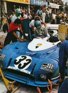 """Watkins Glen 6 Hours - """"Pesca"""" gives the wheel of the Matra MS at Larrousse Le Mans, Road Racing, Auto Racing, Course Automobile, Watkins Glen, Vader Star Wars, Vintage Racing, Vintage Auto, Car And Driver"""