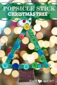 Kids Christmas Craft: Popsicle Stick Christmas Tree: 4 Easy-to Make DIY Kid Christmas Ornaments