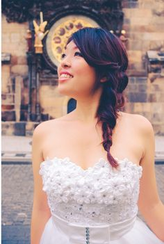 Experienced makeup artist with Asian makeup for pre-wedding photo portraits. Lace Wedding, Wedding Dresses, Asian Makeup, Prague, Wedding Makeup, One Shoulder Wedding Dress, Wedding Photos, Portrait, Hair