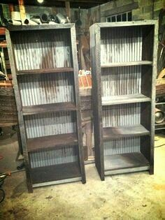 The best DIY projects & DIY ideas and tutorials: sewing, paper craft, DIY. DIY Furniture Plans & Tutorials : Barn wood and corrugated metal book shelves -Read Repurposed Furniture, Pallet Furniture, Furniture Projects, Rustic Furniture, Antique Furniture, Modern Furniture, Industrial Furniture, Outdoor Furniture, Furniture Online