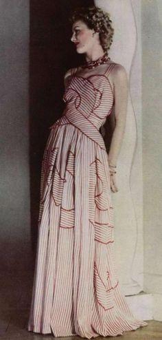 1946.1940s fashion.  I just like this dress.