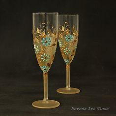 Champagne Glasses Wedding Glasses Gold Mint Blue от NevenaArtGlass