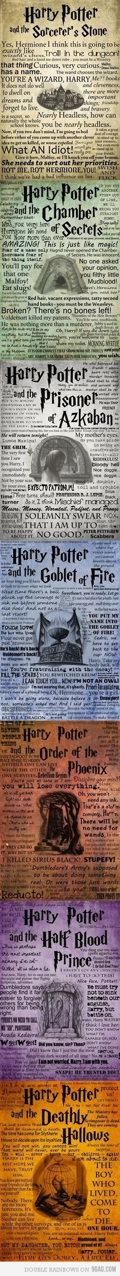 Harry Potter quotes poster for Sorcerer's Stone, Chamber of Secrets, Prisoner of Azkaban, Goblet of Fire, Order of Phoenix, Half-Blood Price, Deathly Hallows Video Games Posters