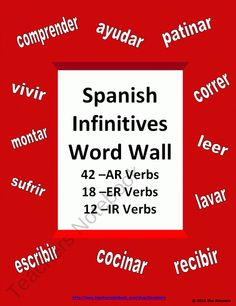 Spanish AR/ER/IR Infinitve Verb Wall Signs - 72 Verbs product from Sue-Summers on TeachersNotebook.com