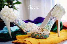 adorable!!!!! Rainbow Wedding Shoes | www.figgieshoes.com