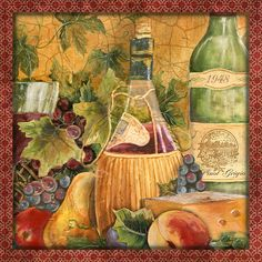 Tuscan Wine-C Painting by Jean Plout - Tuscan Wine-C Fine Art Prints and Posters for Sale