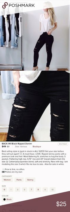 Black Stretchy Skinny Distressed Pants This item was purchased brand new as a reposh (originally from the closet of @11thstreet). Worn and washed once. It's size 7/27 and fits loose on me and now wish to resell.   Additional description is included in the third photo.  📸 Credits: First 3 are from the listing of @11thstreet. 11thstreet Pants Skinny