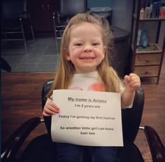 """When Ariana Smith's parents told her why a sick little girl she saw on a video didn't have any hair, the 3-year-old replied, """"Oh, she can have some of mine."""""""