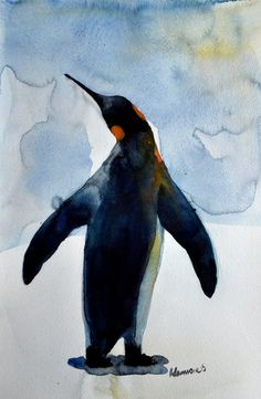 Penguin watercolor painting  original artwork. by AlisaAdamsoneArt