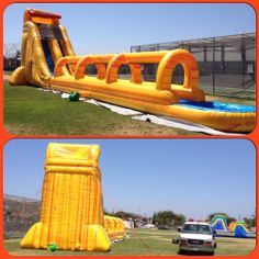 The Fire Super Giant Wave Slip and Slide is the biggest, longest, and tallest inflatable water slide available for rental in the area. Kids and adults will have the time of their lives with this giant inflatable water-slide. Riders climb up the 23' tall slide, from the top riders will slide down through a mist of water and down the long slip and slide finally arriving to a pool of water. Call 800 873-8989 to rent.
