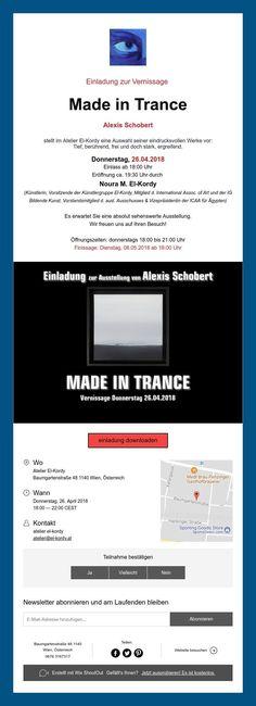 "Einladung zur Vernissage""Made in Trance"" Trance, Group, Artist, Invitations, Trance Music, Amen, Artists"