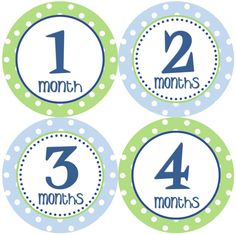 Baby Month Stickers Baby Boy Monthly Onesie Stickers Navy Blue Green Polkadot First Year Month Stickers Baby Shower Gift and Photo Prop Trip. $12.00, via Etsy.