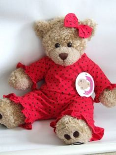 Red and Black Polka Dot Teddy Bear Outfit