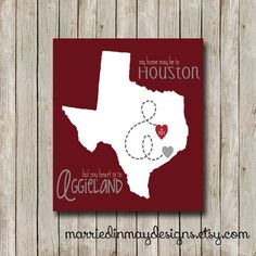 Personalized Aggieland City Custom Art Print - Choose Your City And State - Simple Modern Texas A&M Wall Art - Modern Typography Poster Modern Typography, Typography Poster, Wall Decor, Wall Art, Custom Art, Couple Gifts, Houston, Groom, Texas