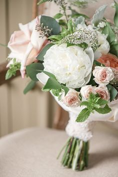 Rosebud and Peony Bouquet in Blush and White | Audrey Rose Photography | http://heyweddinglady.com/playful-elegant-southern-blush-wedding-floral-print/