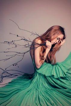 Branch,girl,green,greeen,tree,green,dress,beauty-ae2c26f0fbe5b765ad24b5a5fe0af684_h_large