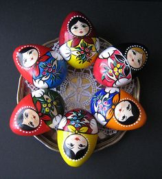 doll care Hand-painted wooden Russian Easter Eggs Matryoshka, set of two. The traditional Russian souvenirs are painted as Matryoshka (nesting doll). These nice girls will decorate your home Egg Crafts, Easter Crafts, Easter Egg Designs, Ukrainian Easter Eggs, Matryoshka Doll, Egg Art, Egg Decorating, Etsy, Linden Wood