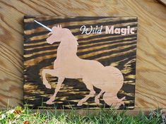 Unicorn Wild Magic painted sign, teenage room decor, unicorn room decor