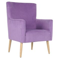 Birch wood arm chair with cotton-velvet upholstery and exposed maple-finished legs.   Product: ChairConstruction Ma...
