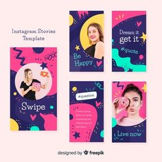 More than 3 millions free vectors, PSD, photos and free icons. Exclusive freebies and all graphic resources that you need for your projects Instagram Design, Layout Do Instagram, Instagram Story Template, Instagram Story Ideas, Web Design, Layout Design, Social Media Template, Social Media Design, Identity
