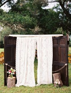 Decor Brown vintage wedding doors Lace drapes stumps outdoor wedding - I think this would be a good idea for the entrance to the aisle. What do yall think?