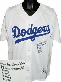 Duke Snider Autographed Hand Signed Brooklyn Dodgers Majestic White Jersey  LTD 5 Stat inscriptions by 036b6df4c