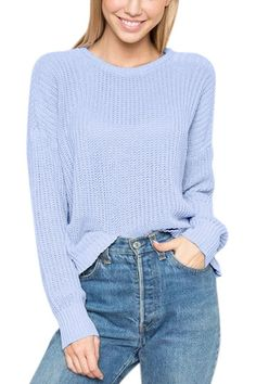 Blue Round Neck Long Sleeves Jumper - US$31.95 -YOINS