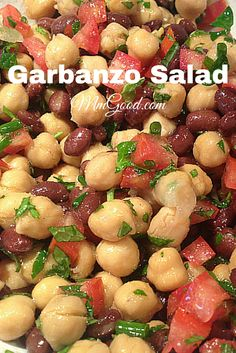 A super healthy, delicious and great make ahead recipe using garbanzo beans (chick peas), beans and a great herb dressing. The parsely with the mint makes this a great combination for any side dish | MmGood.com