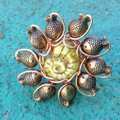Copper Fish Kissing Nautilus Wire Wrapped Ring