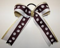 Paw Print Maroon White & Gold Streamers Cheer Bow