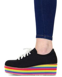 TENNIS SHOE WITH RAINBOW PLATFORM at Shop Jeen - SHOP JEEN