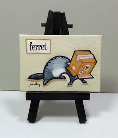 Shelly Mundel Art Original Mini Painting Series- Ferret finds a box - Folk Art #FerretArt