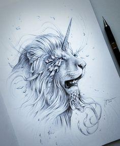 Âmes âme dessin fantaisie crayon Art Lion par JoJoesArt sur Etsy