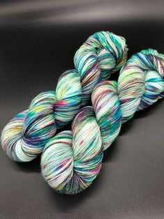 Hand Dyed Yarn, Blue rainbow, Superwash Merino wool, Nylon Fingering Weight Yarn - 463yds per skein