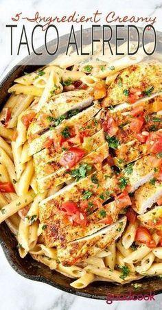 5-Ingredient Taco Alfredo | pasta, dinner, easy recipe, chicken, skillet, entree, main dish, family friendly, noodles