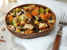 Roasted Fall Harvest. Brussels, Sweet potatoes, Apples, and Butternut Squash, roasted with pecans and cranberries. A perfect Thanksgiving dish!
