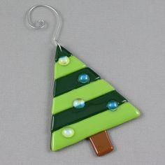 Christmas Tree Ornament Fused Glass  by AngelasGlassStudio on Etsy, $8.00