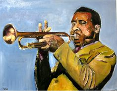 Jazz Trumpeter Blue Mitchell. Oil Painting by Udi Peled (for sale).
