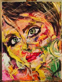 """18x24"""". Acrylic on Cotton canvas. #Colorful #portrait #soussi"""