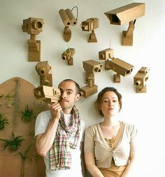 Cardboard video  surveillance cameras for sale by French couple.