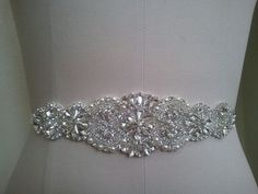 Wedding Belt, Bridal Belt, Sash Belt, Crystal Rhinestone & Off White Pearls - Style B200099L  Absolutely Dazzling Finest Crystal Rhinestone