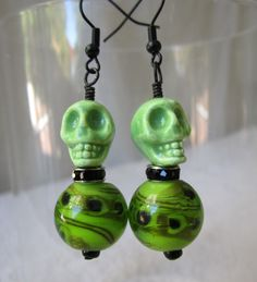 Green Ghoul Skull Dressed for the Day Of The Dead Ball Earrings by AGreenWoods on Etsy