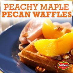 Maple Pecan Waffles! What could be better?! Mmmm sweet, tart, crunchy ...