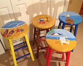 "Nautical themed swivel round top hand painted 24"" stool"