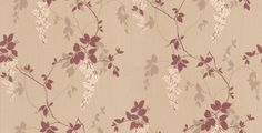 Fuschia (410002) - Arthouse Wallpapers - A pretty hanging fuschia design with trailing branches and irridescent leaves, available in 3 colourways. Shown here in plum, oyster white and silver on a beige backing. Please ask for a sample for true colour match.