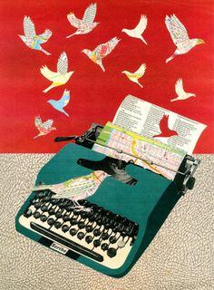 Bird typewriter #collage by Aine V.