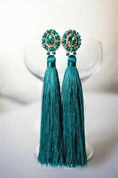 Embroidery earrings with tassels. Rhinestones, faceted glass beads, seed beads and bullion wire. Hand work.