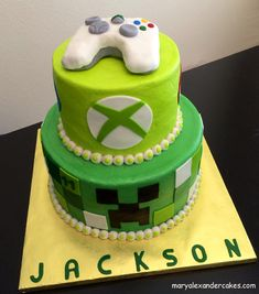 Minecraft xbox gaming theme cake.  From Mary Alexander Cakes in Dallas Texas www.maryalexandercakes.com